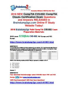 (Full-Version)2018 New Braindump2go CV0-002 Dumps PDF 325Q Free Offer(271-281)