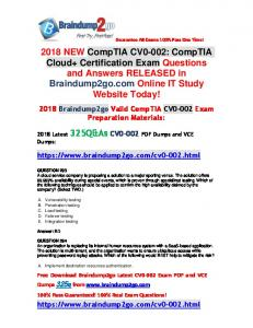 (Full-Version)2018 New Braindump2go CV0-002 PDF Dumps 325Q Free Offer(293-302)