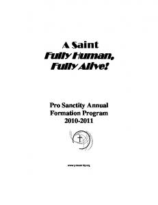 Fully Human, Fully Alive! - ProSanctityMidwest.org