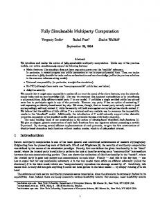 Fully Simulatable Multiparty Computation - Semantic Scholar