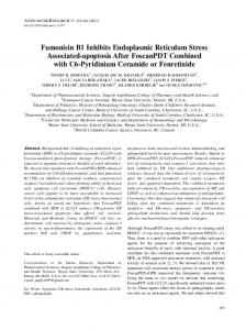 Fumonisin B1 Inhibits Endoplasmic Reticulum