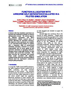 function allocation with airborne self-separation ... - NTRS - NASA