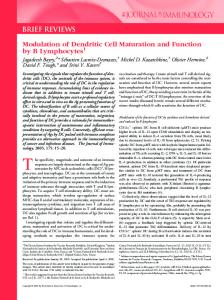 Function by B Lymphocytes Modulation of Dendritic Cell Maturation and
