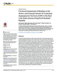 Functional Assessment of Residues in the Amino-and Carboxyl ...
