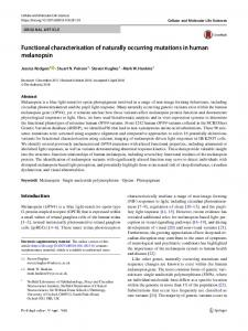 Functional characterisation of naturally occurring ...