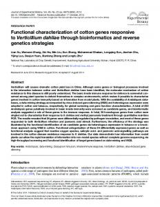 Functional characterization of cotton genes ... - Oxford Journals