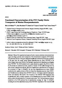Functional Characterization of the FNT Family Nitrite Transporter of ...