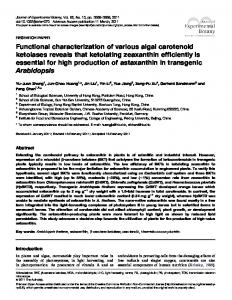 Functional characterization of various algal carotenoid ketolases ...