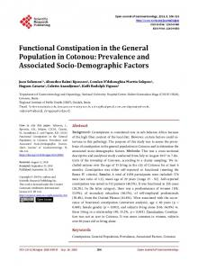 Functional Constipation in the General Population in