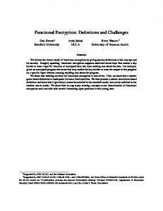Functional Encryption - Cryptology ePrint Archive
