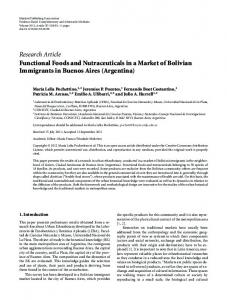 Functional Foods and Nutraceuticals in a Market of Bolivian ...