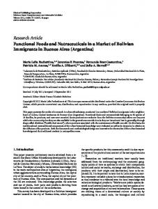 Functional Foods and Nutraceuticals in a Market of Bolivian