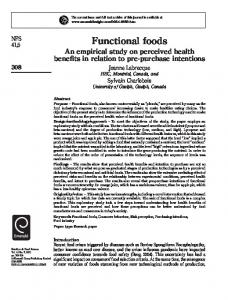 Functional foods - IngentaConnect