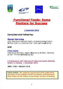 Functional Foods - University College Dublin