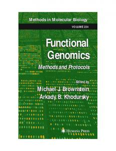 Functional Genomics Functional Genomics - CiteSeerX