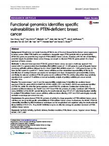 Functional genomics identifies specific ... - Breast Cancer Research