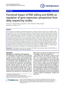 Functional Impact of RNA editing and ADARs on regulation of gene ...