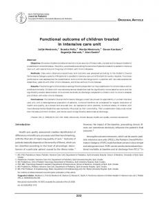Functional outcome of children treated in intensive care unit - SciELO