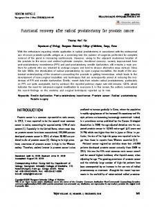 Functional recovery after radical prostatectomy for