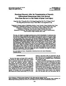 Functional Recovery After the Transplantation of Neurally ...