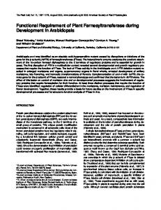 Functional Requirement of Plant Farnesyltransferase ... - Plant Cell