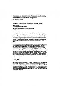 Functional requirements, non-functional requirements ... - CiteSeerX