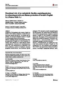 Functional role of an endophytic Bacillus ...