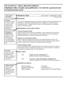 FUNCTIONAL / SKILL RESUME FORMAT Highlights skills, strengths ...