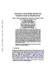Functional Time Series Models for Ultrafine Particle Distributions - arXiv