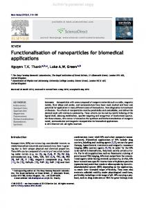 Functionalisation of nanoparticles for biomedical applications - UCL