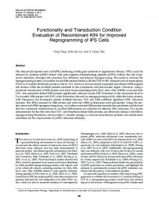 Functionality and Transduction Condition Evaluation of Recombinant ...