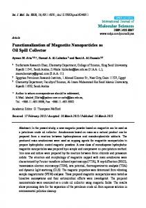 Functionalization of Magnetite Nanoparticles as Oil Spill ... - MDPI