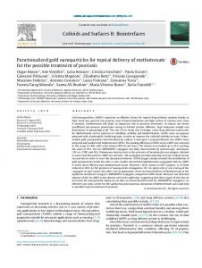 Functionalized gold nanoparticles for topical delivery of methotrexate ...