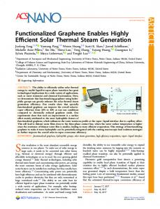 Functionalized Graphene Enables Highly Efficient ... - ACS Publications