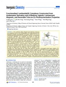 Functionalized Lanthanide(III) - ACS Publications - American