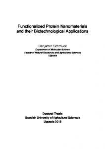 Functionalized Protein Nanomaterials and their Biotechnological