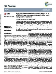 Functionalized superparamagnetic Fe3O4 as an ...