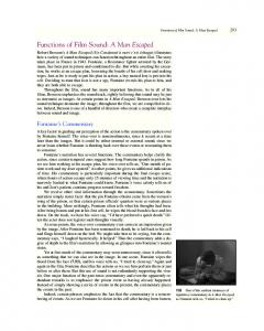 Functions of Film Sound: A Man Escaped - David Bordwell