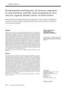 Fundamental mechanisms of immune response to oral bacteria and ...
