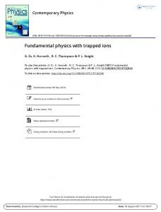 Fundamental physics with trapped ions