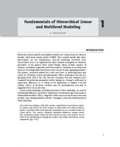Fundamentals of Hierarchical Linear and Multilevel Modeling