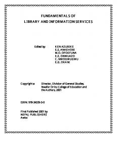fundamentals of library and information services