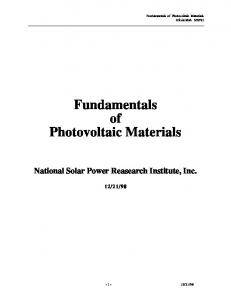 Fundamentals of Photovoltaic Materials