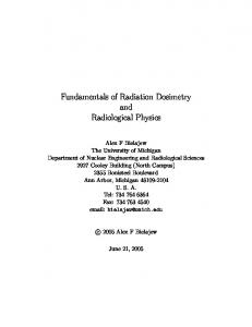 Fundamentals of Radiation Dosimetry and Radiological Physics