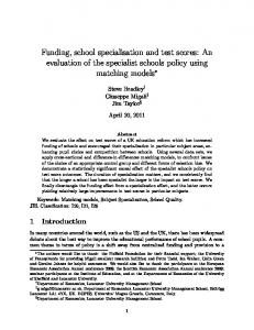 Funding, school specialisation and test scores: An