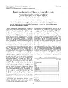 Fungal Contamination of Food in Hematology Units