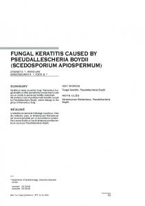 fungal keratitis caused by pseudallescheria boydii ... - Ophthalmologia