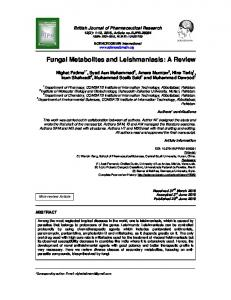 Fungal Metabolites and Leishmaniasis: A Review