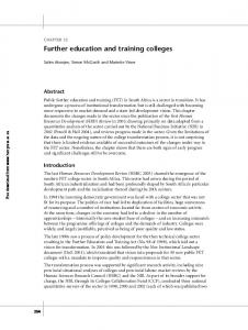 Further education and training colleges - HSRC Press