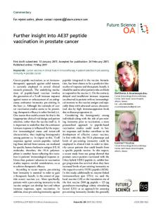 Further insight into AE37 peptide vaccination in prostate cancer